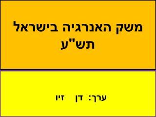 """משק האנרגיה בישראל תש""""ע"""