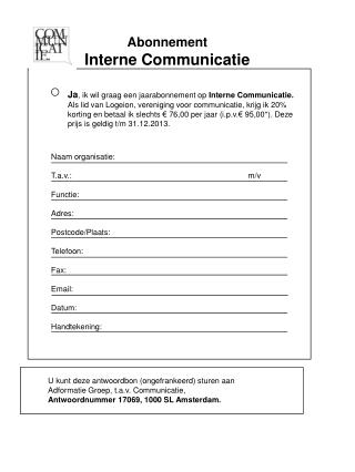 Abonnement Interne Communicatie