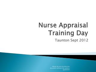 Nurse Appraisal  Training Day