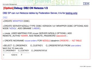 [Option]  Debug: DB2 ON Netezza 1/3