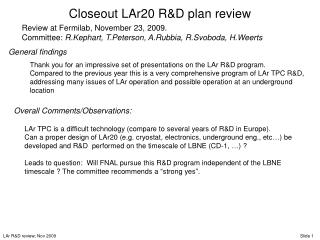 Closeout LAr20 R&D plan review