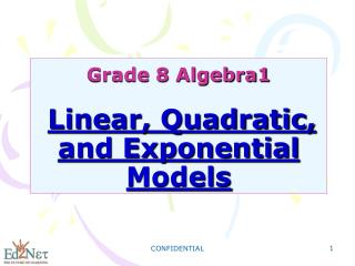 Grade 8 Algebra1 Linear, Quadratic, and Exponential Models