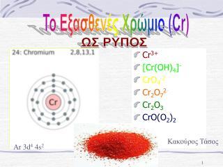 Cr 3+ [ Cr(OH) 4 ] - CrO 4 -2 Cr 2 O 7 2 - Cr 2 O 3 CrO(O 2 ) 2