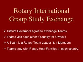 Rotary International Group Study Exchange