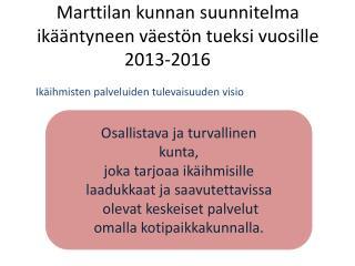Marttilan kunnan suunnitelma ik��ntyneen v�est�n tueksi vuosille 2013-2016