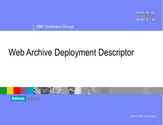 Web Archive Deployment Descriptor