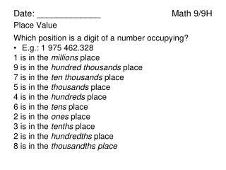 Date: _____________Math 9/9H