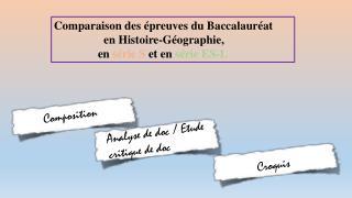 Comparaison des épreuves du Baccalauréat                        en Histoire-Géographie,