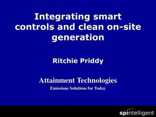 Integrating smart  controls and clean on-site generation