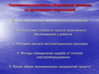 Технико-экономическое обоснование проектов  по организации энергослужб