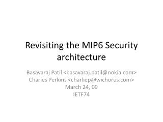 Revisiting the MIP6 Security architecture