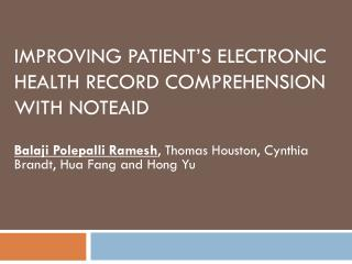 IMPROVING PATIENT'S ELECTRONIC HEALTH RECORD COMPREHENSION WITH NOTEAID