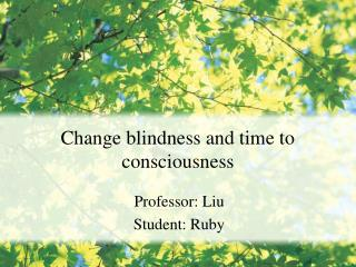 Change blindness and time to consciousness