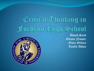 Critical  Thinking in  Fordson  High School
