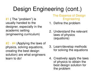 Design Engineering (cont.)
