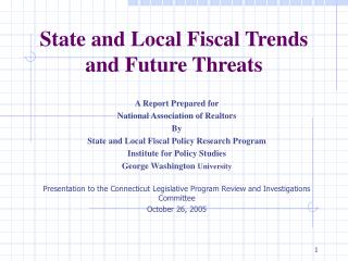 State and Local Fiscal Trends and Future Threats