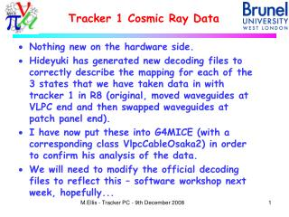 Tracker 1 Cosmic Ray Data