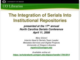 The Integration of Serials Into Institutional Repositories