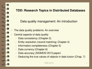 Data quality management: An introduction The data quality problems: An overview