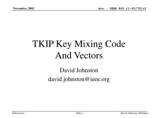 TKIP Key Mixing Code And Vectors