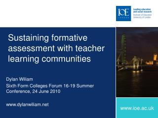 Sustaining formative assessment with teacher learning communities