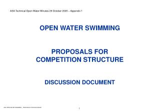 OPEN WATER SWIMMING PROPOSALS FOR COMPETITION STRUCTURE DISCUSSION DOCUMENT
