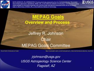 MEPAG Goals Overview and Process