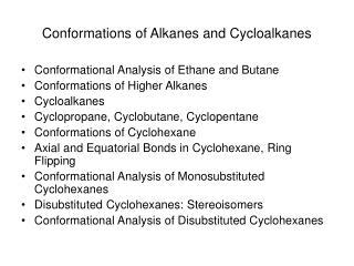 Conformations of Alkanes and Cycloalkanes
