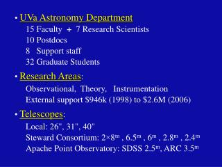 UVa Astronomy Department 15 Faculty   +   7 Research Scientists 10 Postdocs 8   Support staff