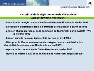 Historique de la régie communale d'électricité Gemeindewerke Nümbrecht