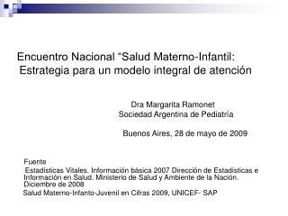"""Encuentro Nacional """"Salud Materno-Infantil:   Estrategia para un modelo integral de atención"""