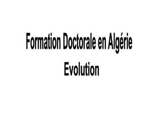 Formation Doctorale en Algérie