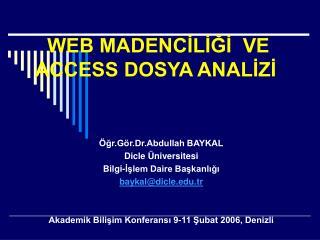 WEB MADENCİLİĞİ  VE ACCESS DOSYA ANALİZİ