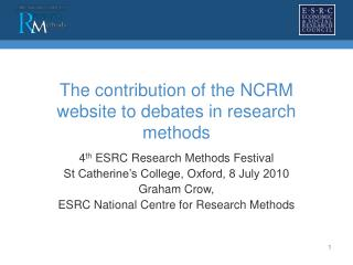 The contribution of the NCRM website to debates in research methods