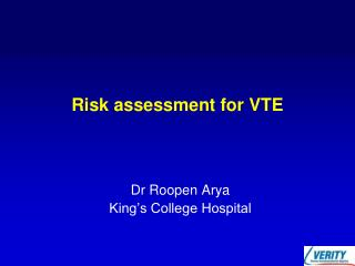 Risk assessment for VTE