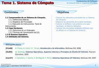 Tema 1. Sistema de C�mputo