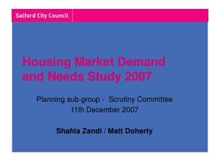 Housing Market Demand  and Needs Study 2007