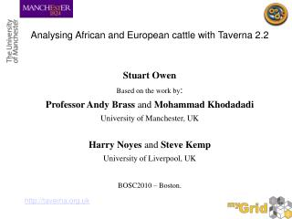 Analysing African and European cattle with Taverna 2.2