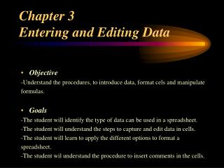 Chapter 3  Entering and Editing Data