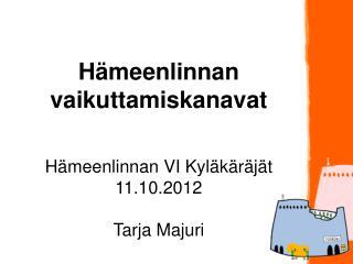 Hämeenlinnan vaikuttamiskanavat Hämeenlinnan VI Kyläkäräjät 11.10.2012 Tarja Majuri