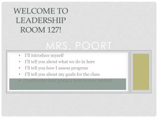 Welcome to Leadership Room 127!