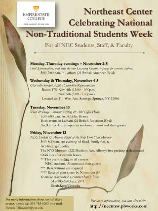 Northeast Center Celebrating National  Non-Traditional Students Week