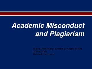Academic Misconduct and Plagiarism