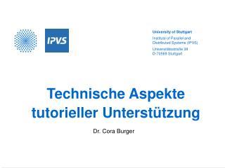 Technische Aspekte tutorieller Unterstützung