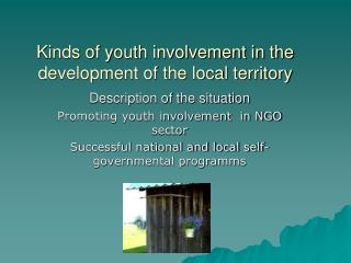 Kinds of youth involvement in the development of the local territory