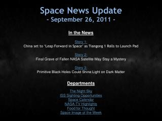 Space News Update - September 26, 2011 -