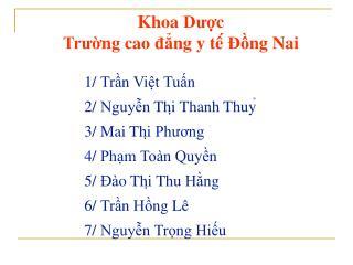 Khoa Dược Trường cao đẳng  y  tê ́  Đồng Nai 1/  Trần Việt Tuấn