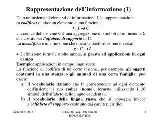 Rappresentazione dell'informazione (1)