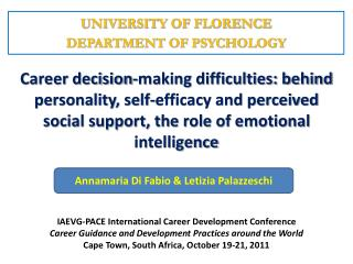 UNIVERSITY OF FLORENCE DEPARTMENT OF PSYCHOLOGY