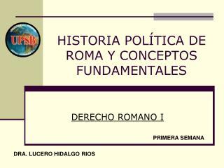 HISTORIA POLÍTICA DE ROMA Y CONCEPTOS FUNDAMENTALES